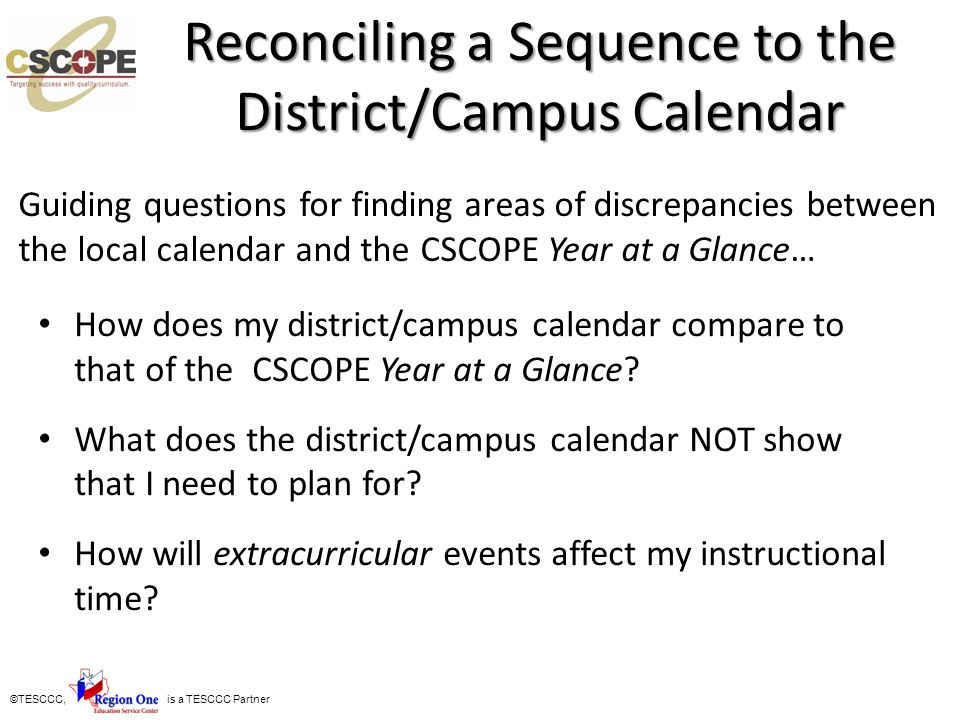 Reconciling a Sequence to the District/Campus Calendar