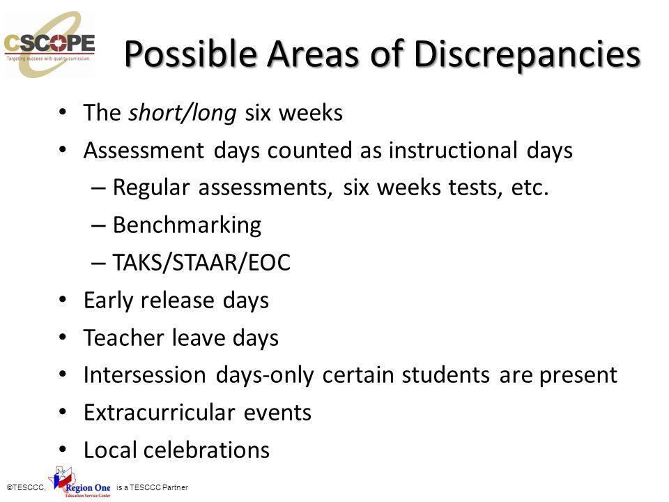 Possible Areas of Discrepancies