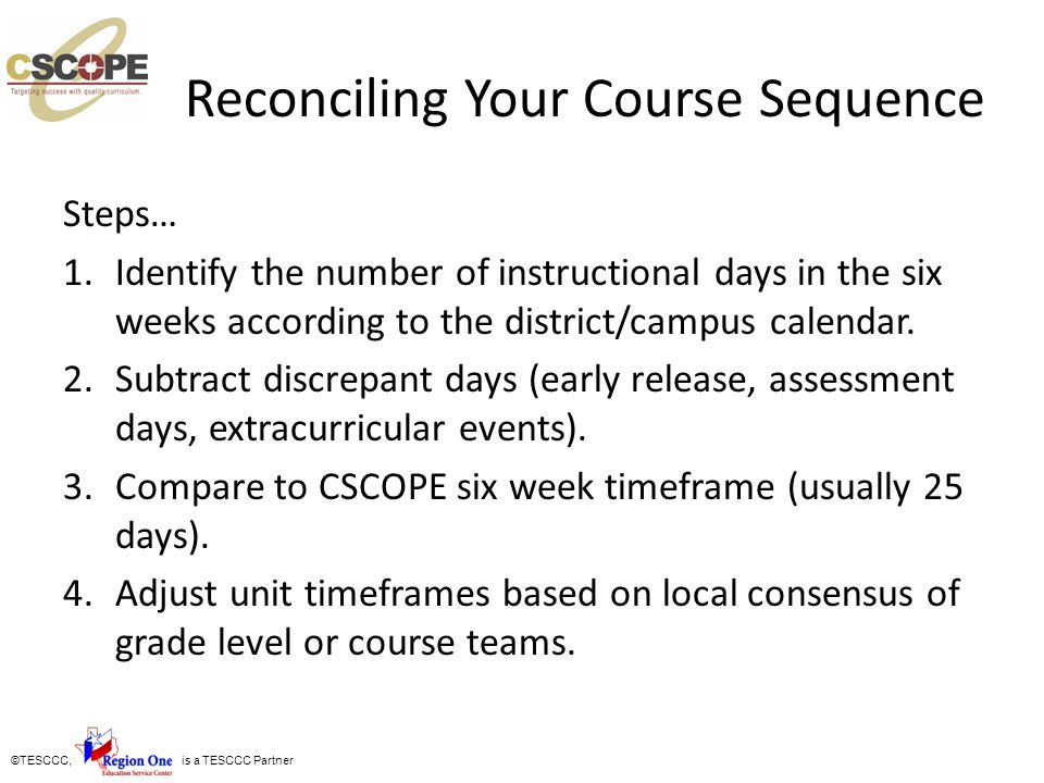 Reconciling Your Course Sequence