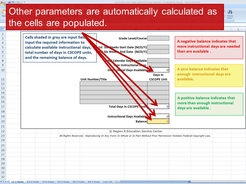Other parameters are automatically calculated as the cells are populated.