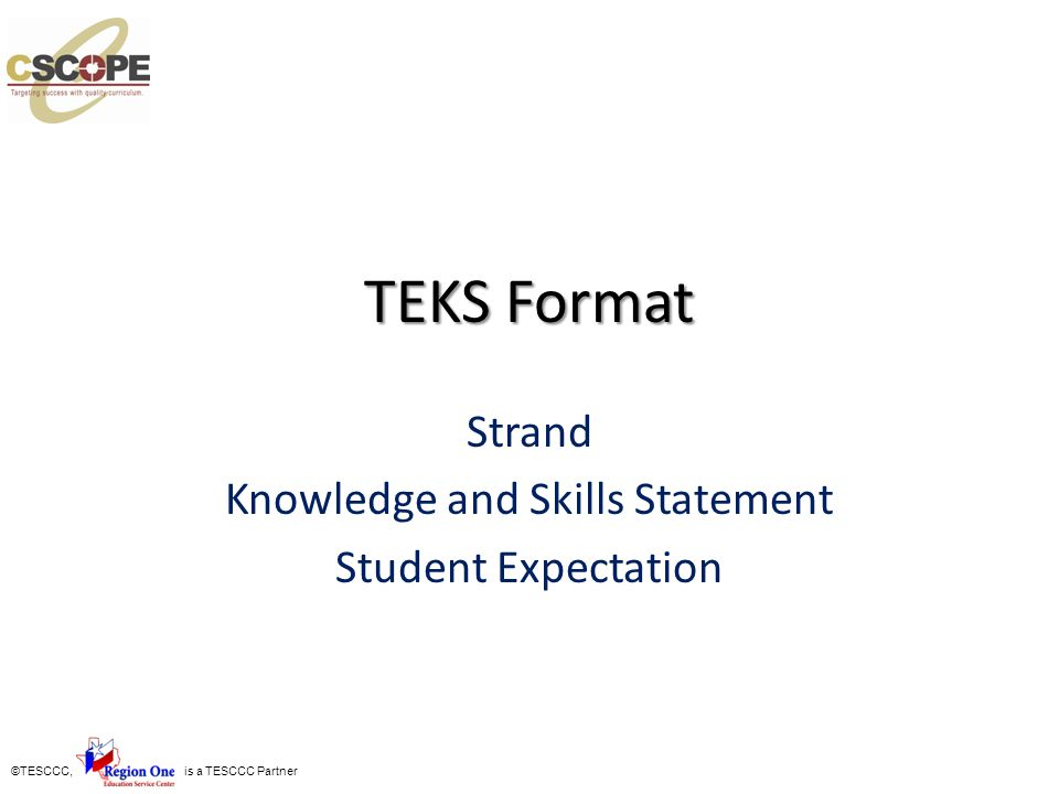Strand Knowledge and Skills Statement Student Expectation