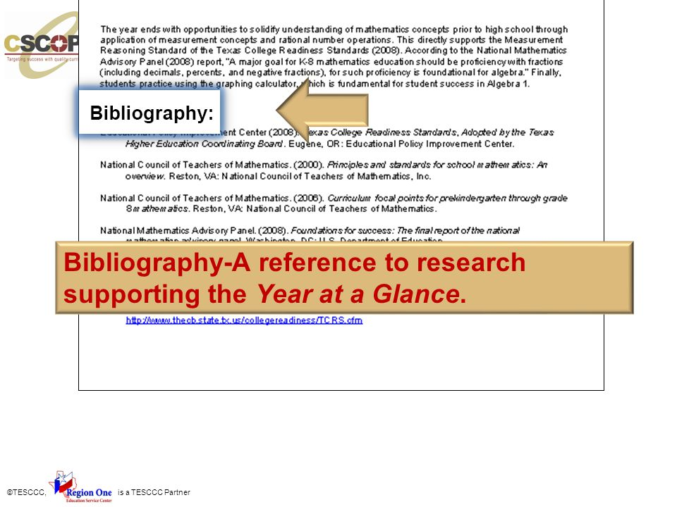 Bibliography-A reference to research supporting the Year at a Glance.