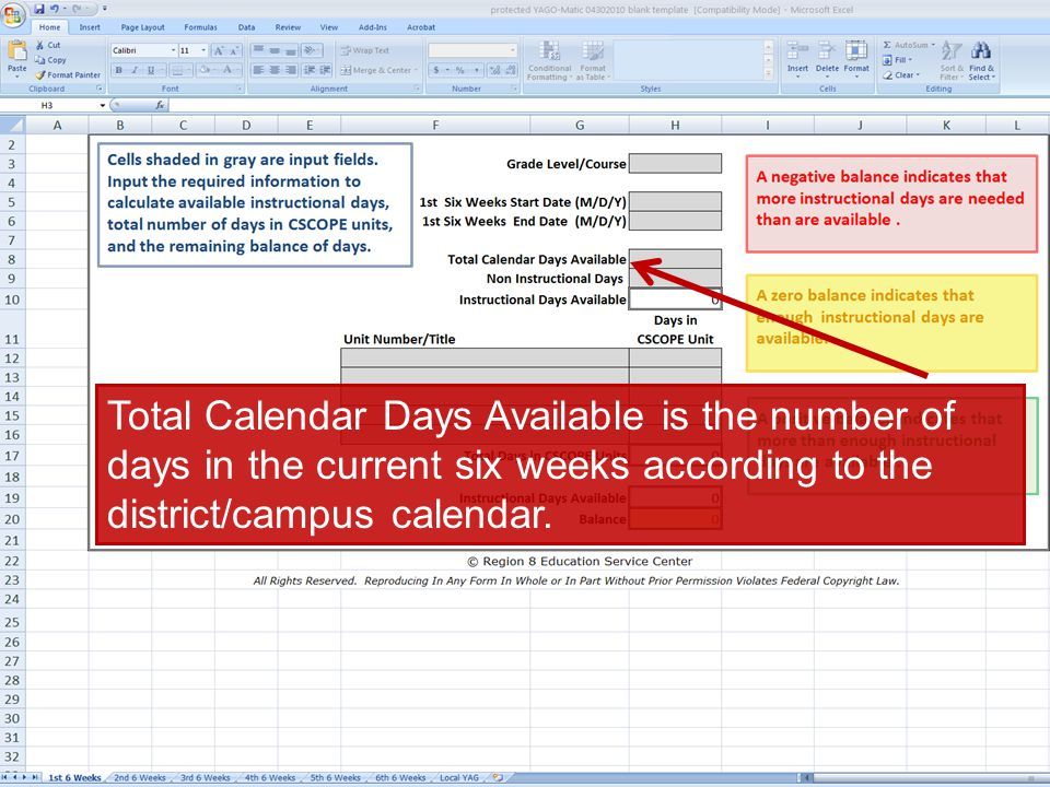 Total Calendar Days Available is the number of days in the current six weeks according to the district/campus calendar.