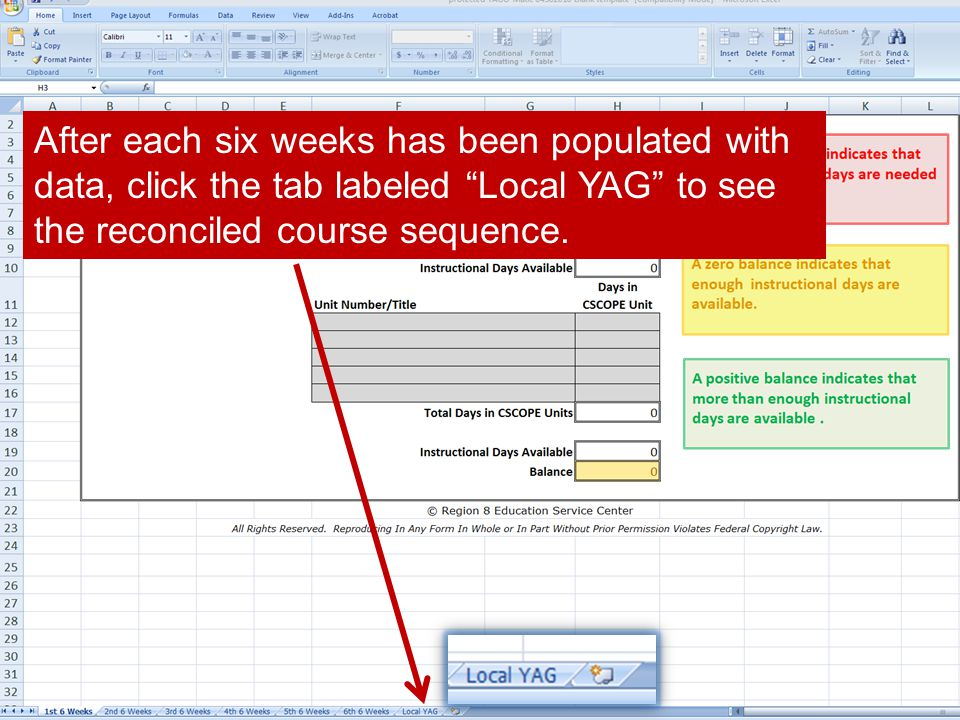 After each six weeks has been populated with data, click the tab labeled Local YAG to see the reconciled course sequence.