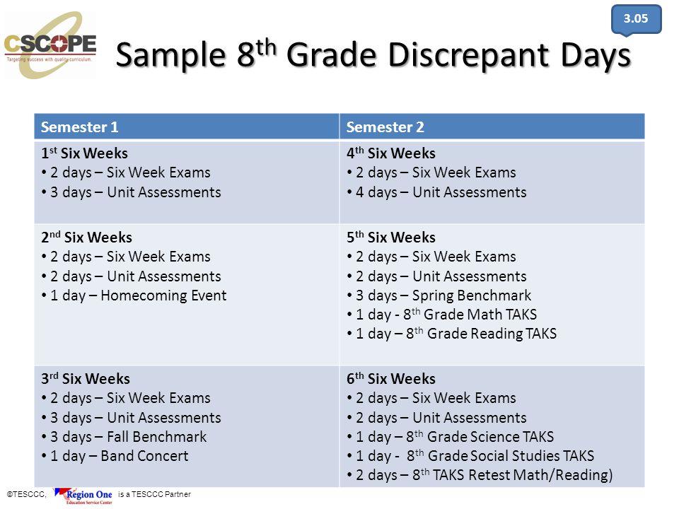 Sample 8th Grade Discrepant Days