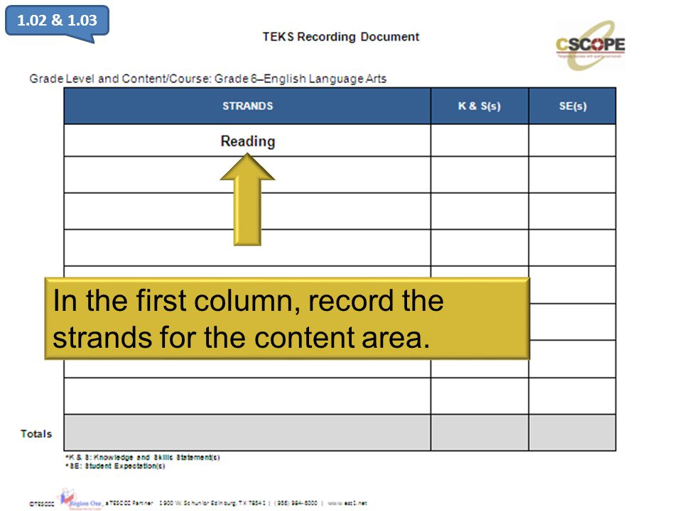 In the first column, record the strands for the content area.