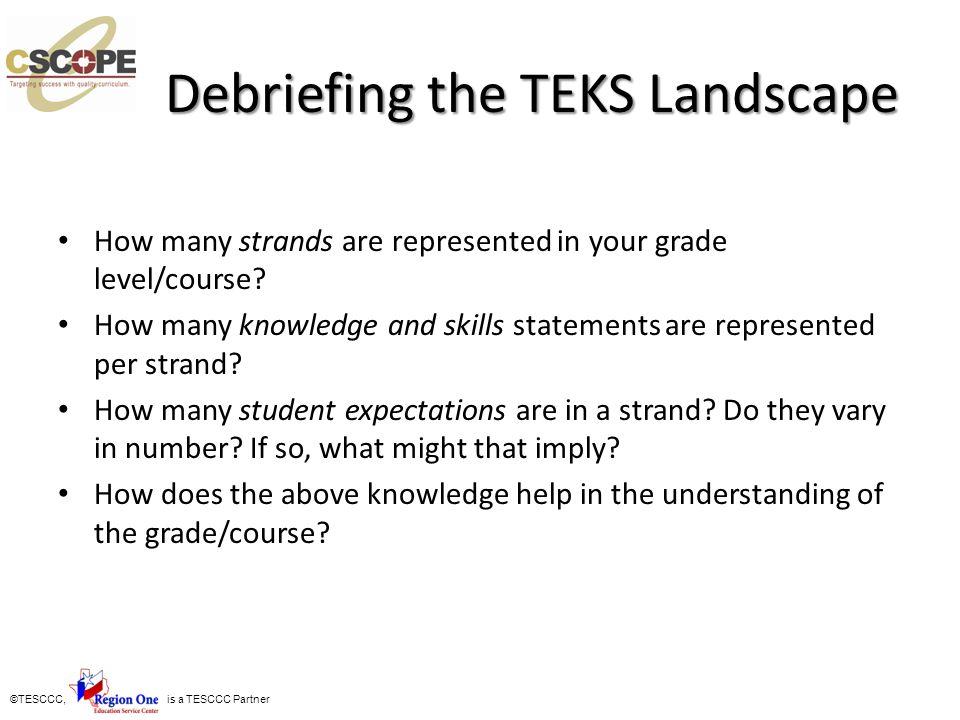 Debriefing the TEKS Landscape