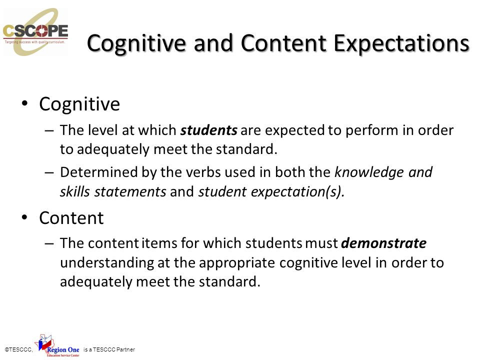 Cognitive and Content Expectations