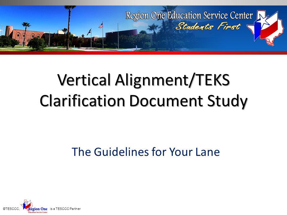 Vertical Alignment/TEKS Clarification Document Study