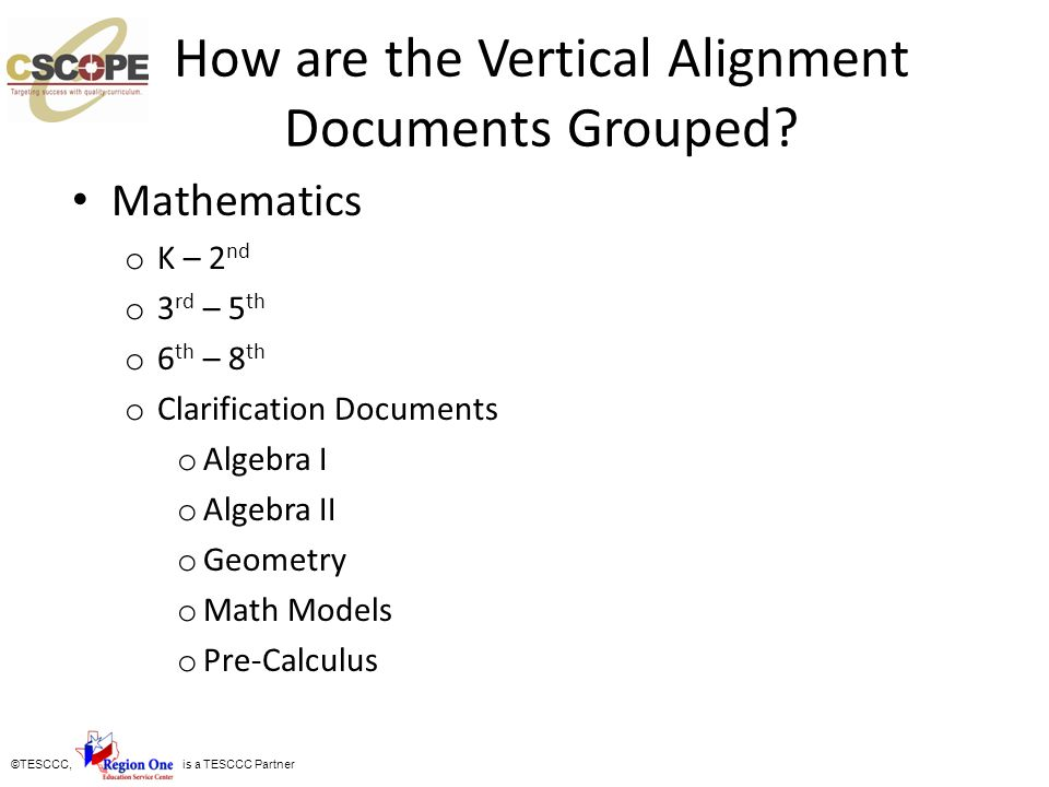How are the Vertical Alignment Documents Grouped