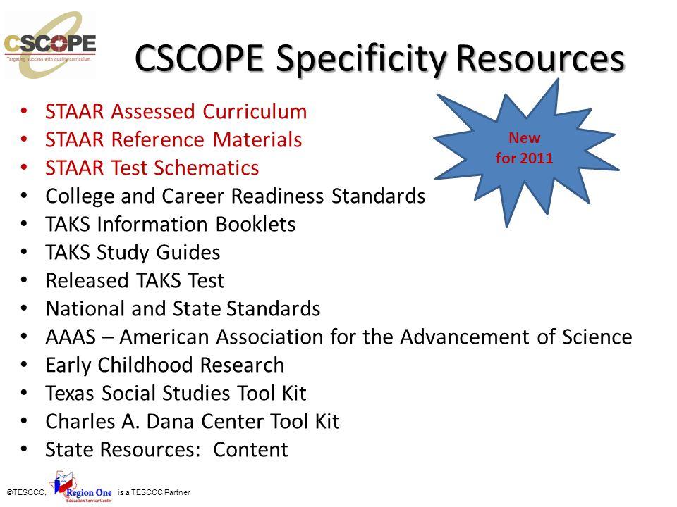 CSCOPE Specificity Resources