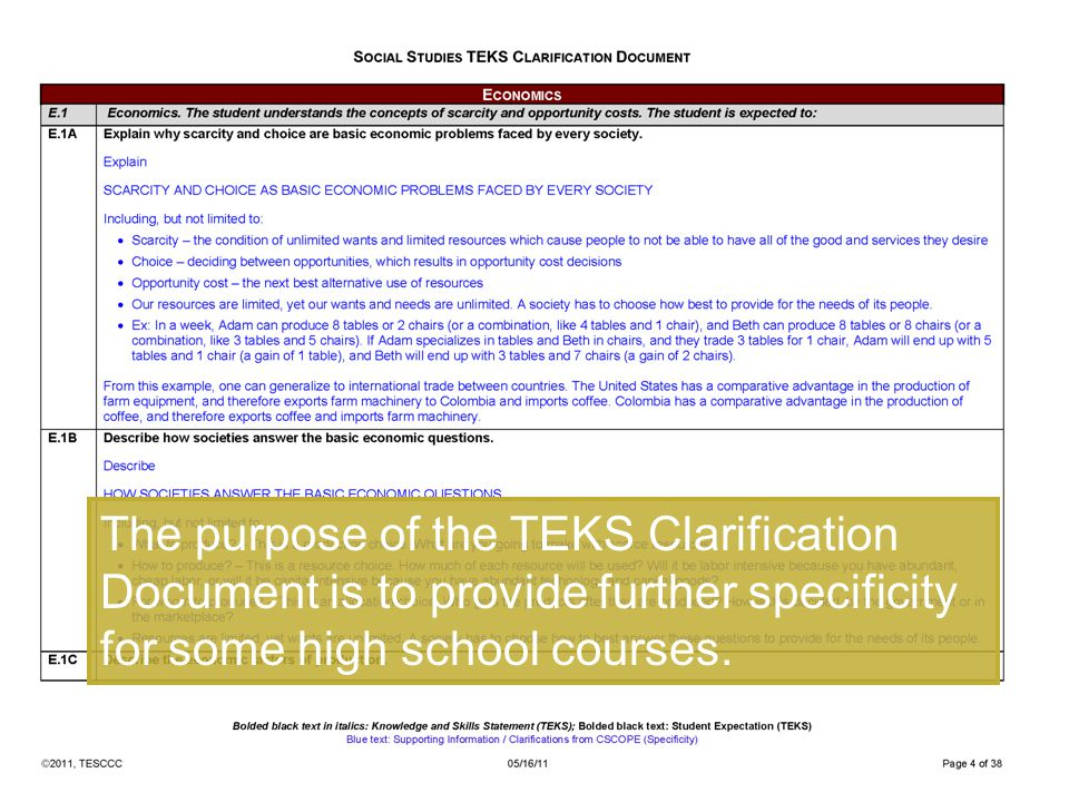 The purpose of the TEKS Clarification Document is to provide further specificity for some high school courses.