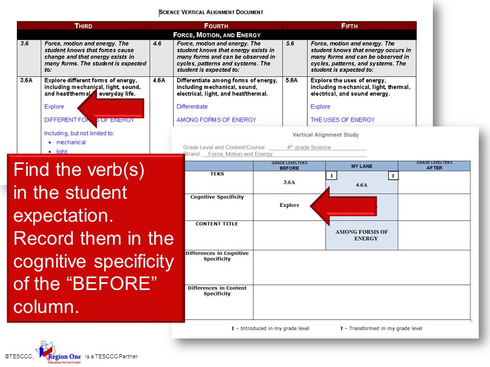 Find the verb(s) in the student expectation. Record them in the cognitive specificity of the BEFORE column.
