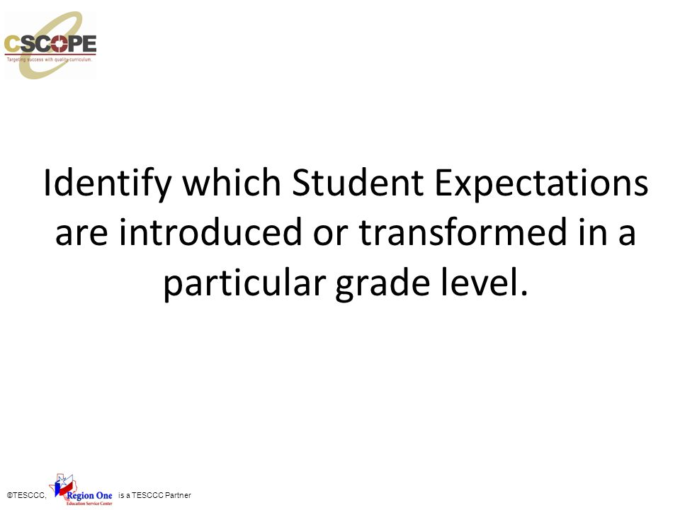 Identify which Student Expectations are introduced or transformed in a particular grade level.