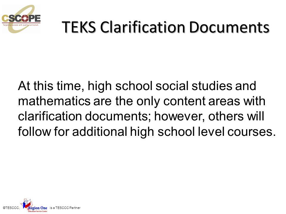 TEKS Clarification Documents