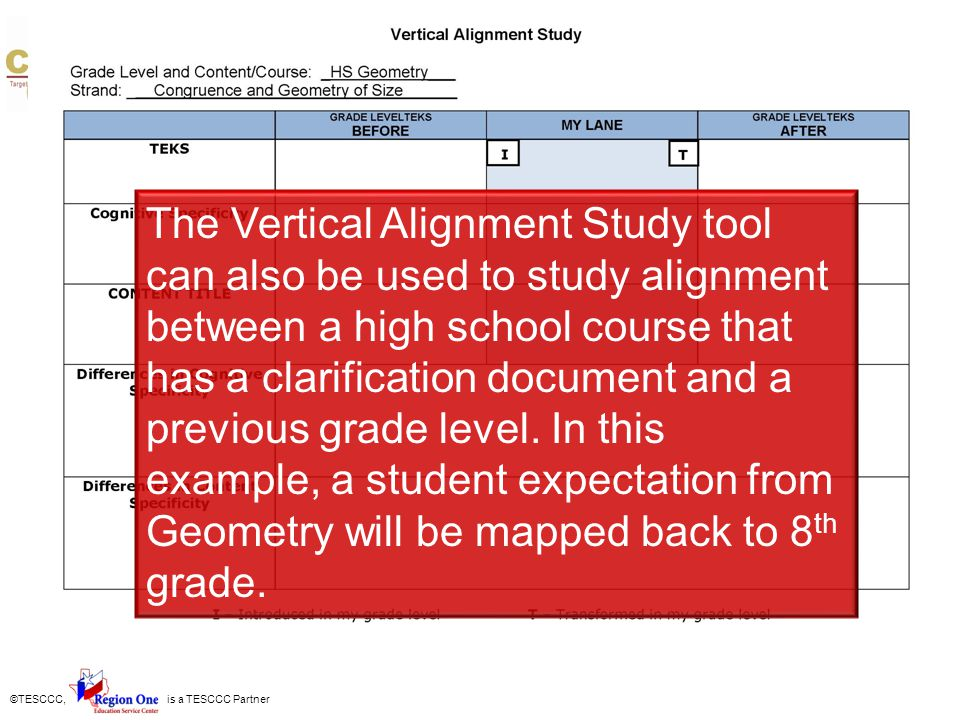 The Vertical Alignment Study tool can also be used to study alignment between a high school course that has a clarification document and a previous grade level. In this example, a student expectation from Geometry will be mapped back to 8th grade.