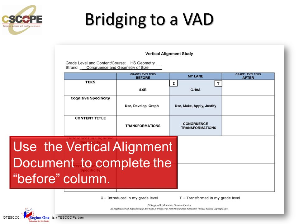 Bridging to a VAD Use the Vertical Alignment Document to complete the before column.