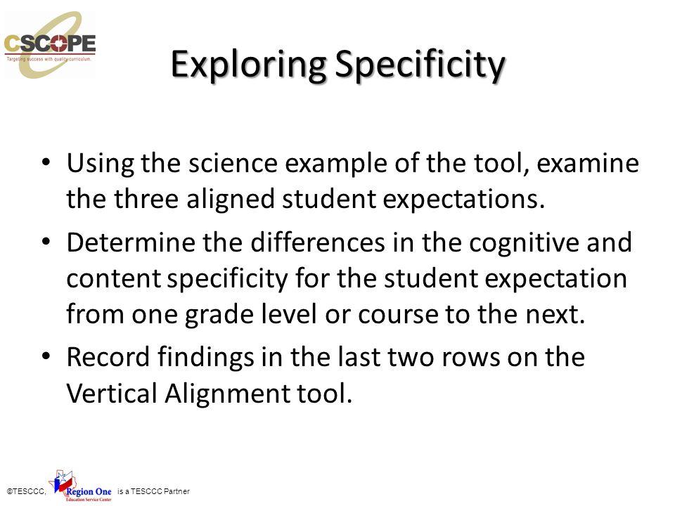 Exploring Specificity