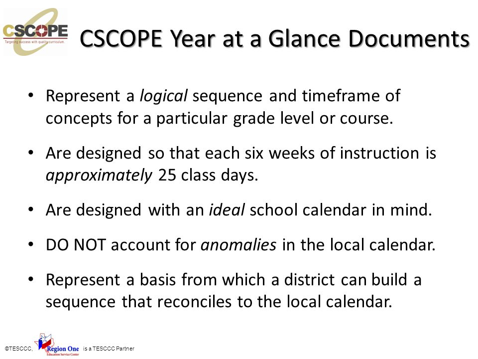 CSCOPE Year at a Glance Documents
