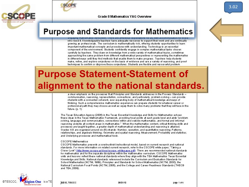 Purpose Statement-Statement of alignment to the national standards.