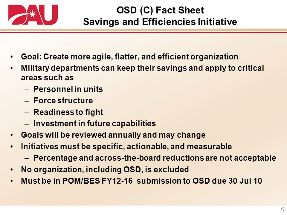 OSD (C) Fact Sheet Savings and Efficiencies Initiative