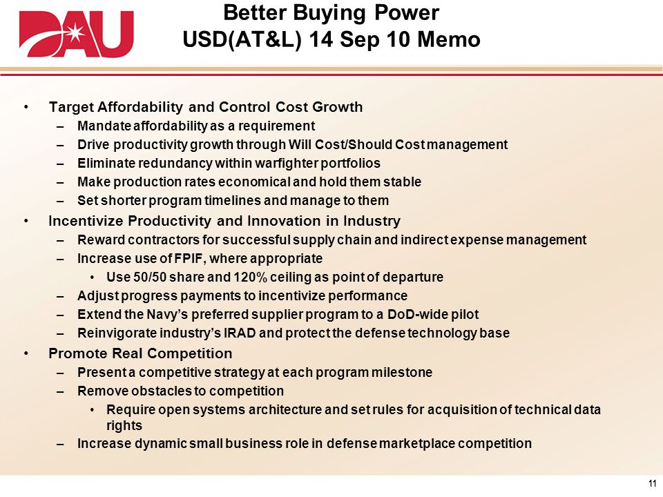 Better Buying Power USD(AT&L) 14 Sep 10 Memo