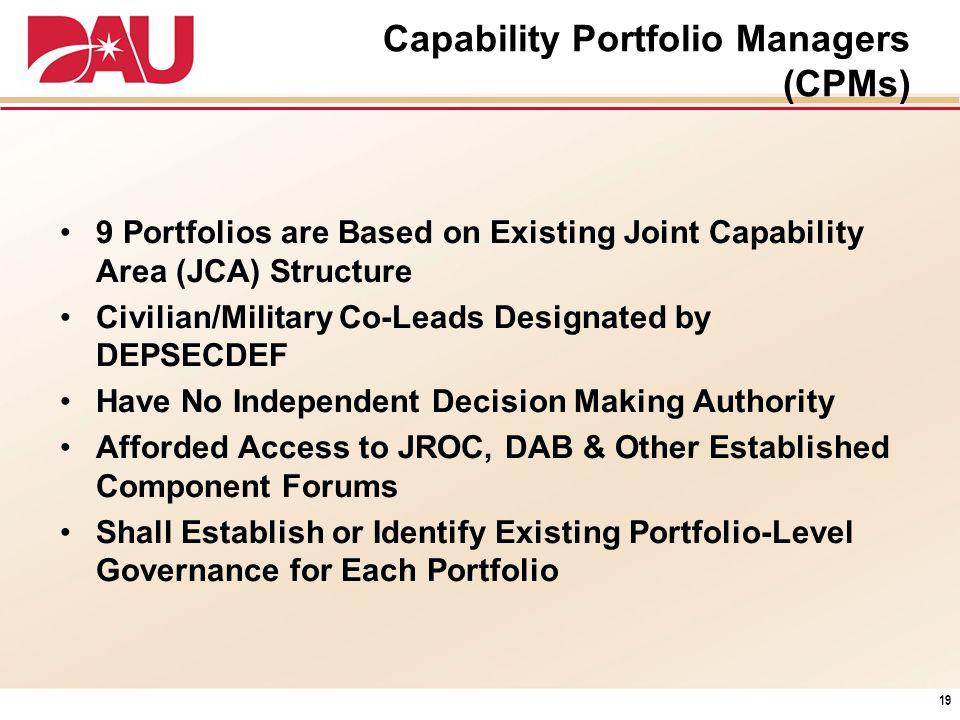 Capability Portfolio Managers (CPMs)