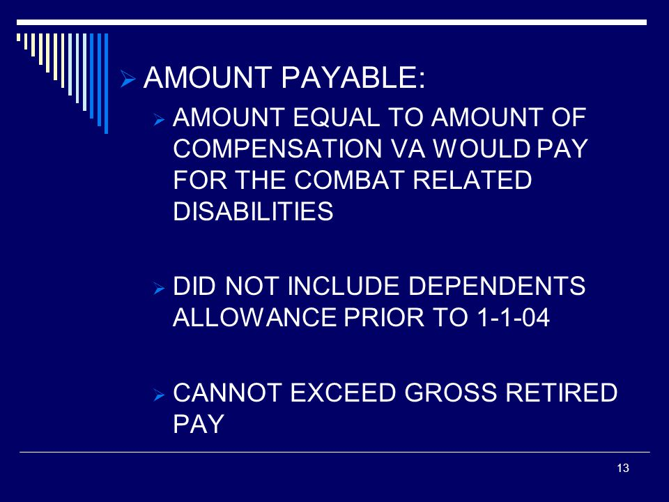 AMOUNT PAYABLE: AMOUNT EQUAL TO AMOUNT OF COMPENSATION VA WOULD PAY FOR THE COMBAT RELATED DISABILITIES.