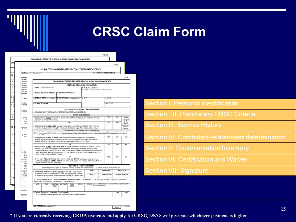 CRSC Claim Form Section I: Personal Identification Section II: Preliminary CRSC Criteria Section III: Service History.