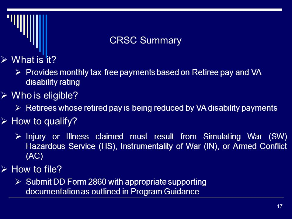 CRSC Summary What is it Who is eligible How to qualify How to file