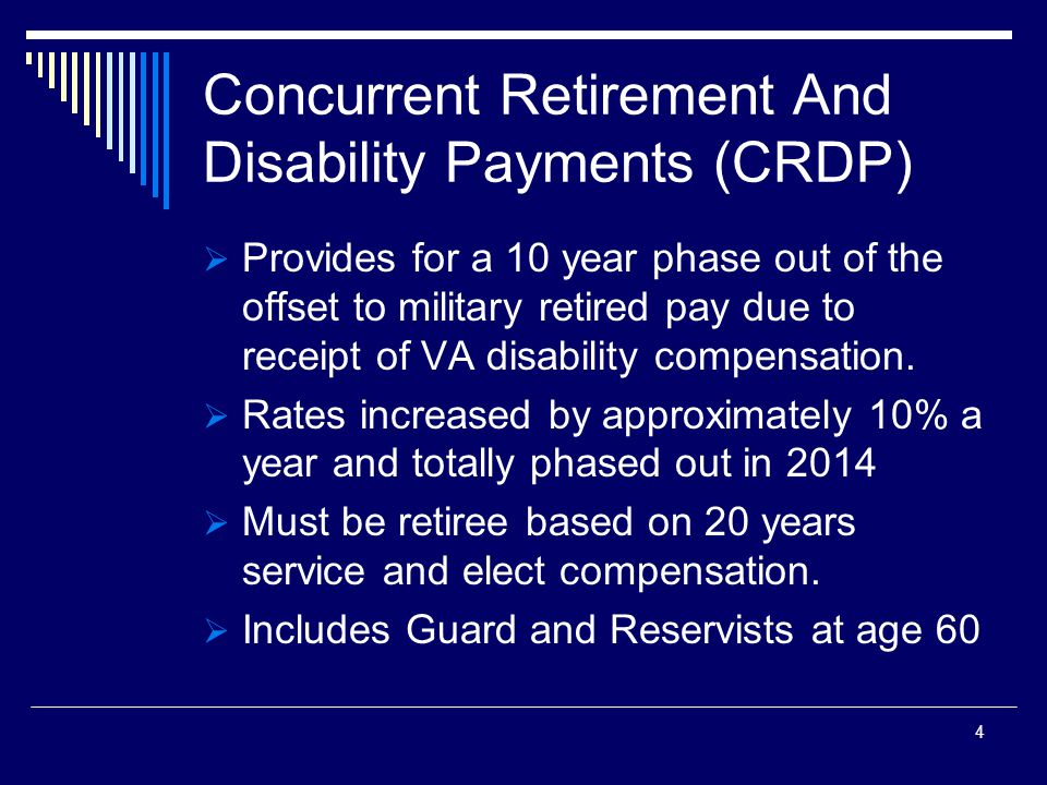 Concurrent Retirement And Disability Payments (CRDP)