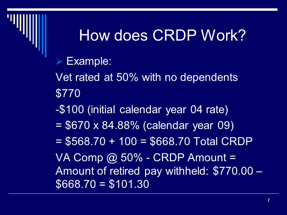 How does CRDP Work Example: Vet rated at 50% with no dependents $770