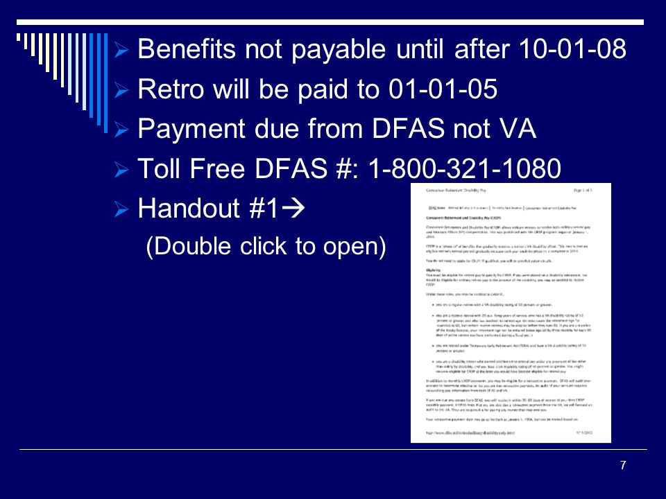 Benefits not payable until after 10-01-08