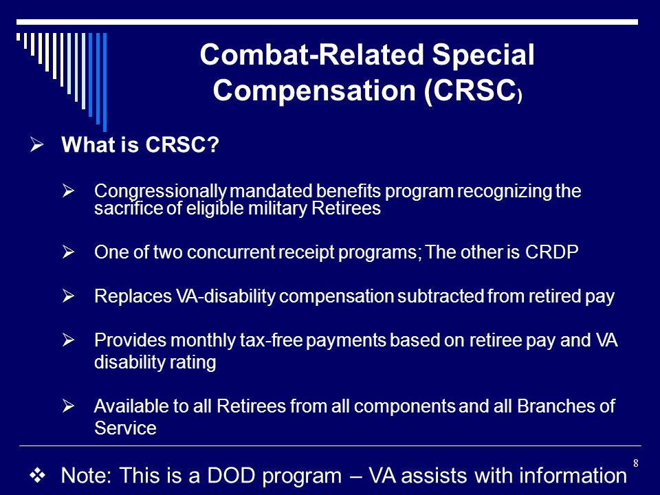 Combat-Related Special Compensation (CRSC)