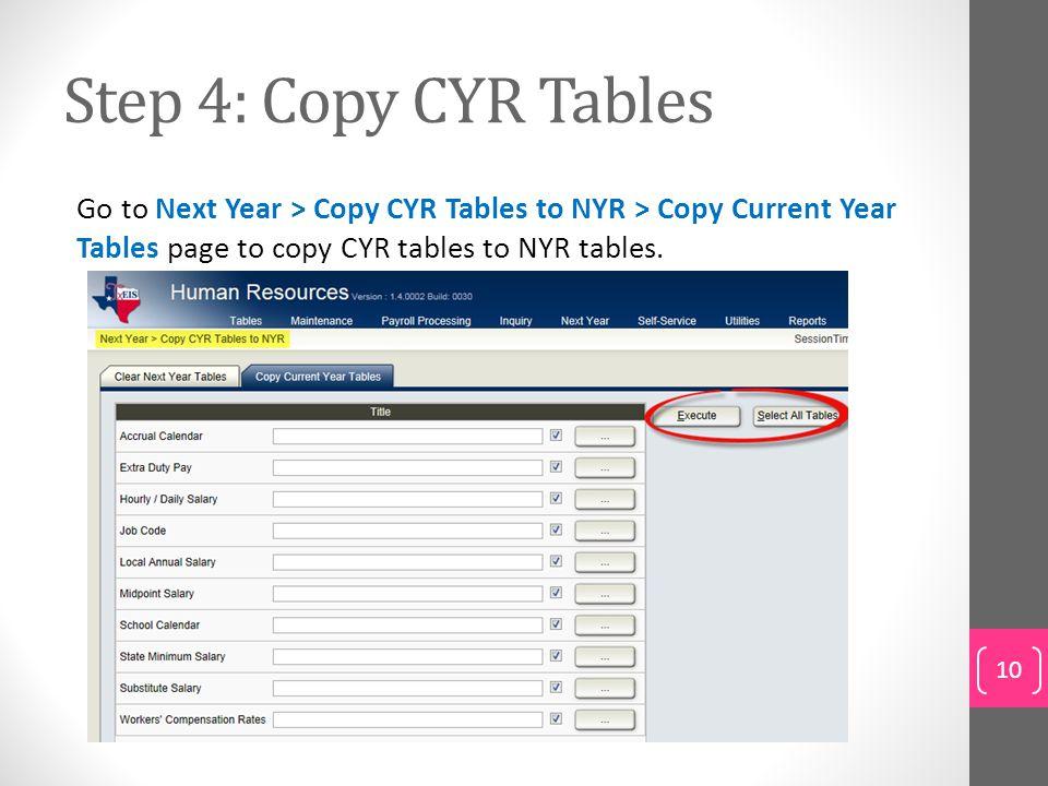 Step 4: Copy CYR Tables Go to Next Year > Copy CYR Tables to NYR > Copy Current Year Tables page to copy CYR tables to NYR tables.