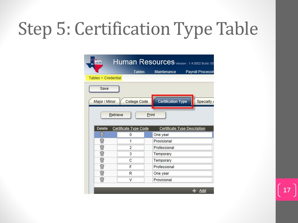 Step 5: Certification Type Table