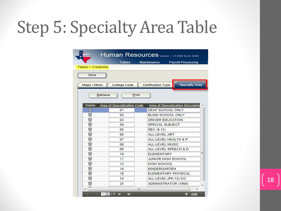 Step 5: Specialty Area Table