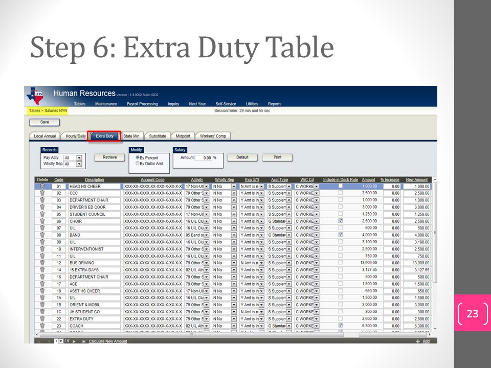 Step 6: Extra Duty Table To update existing extra duty rate data:
