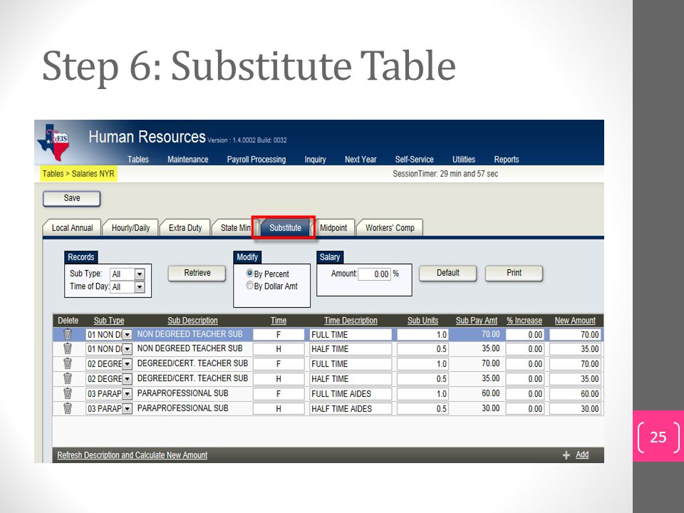 Step 6: Substitute Table