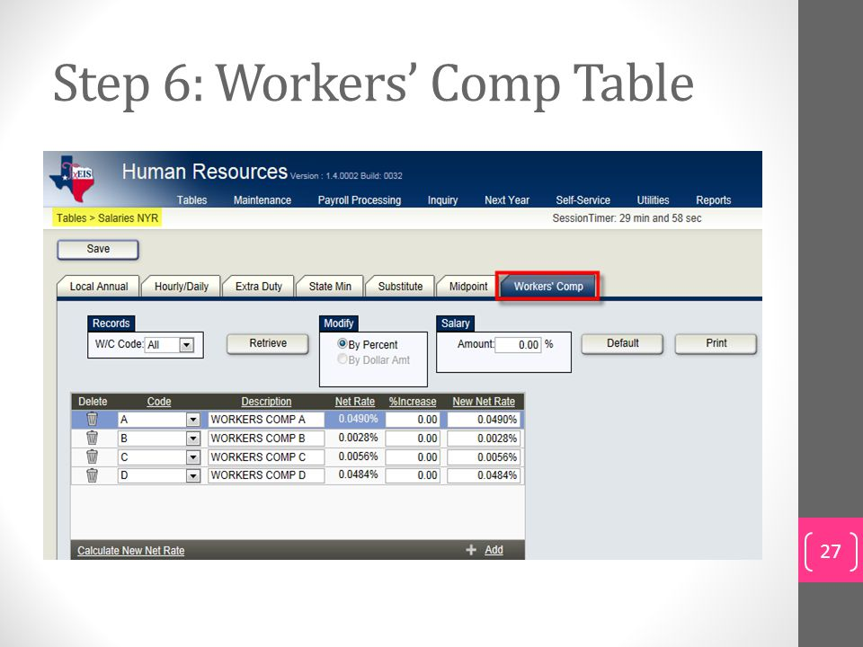 Step 6: Workers' Comp Table