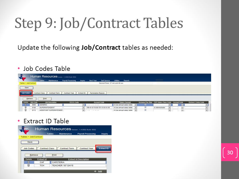 Step 9: Job/Contract Tables