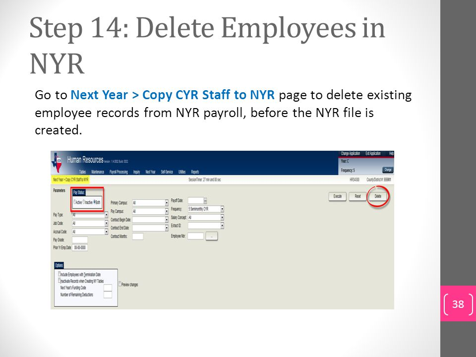Step 14: Delete Employees in NYR