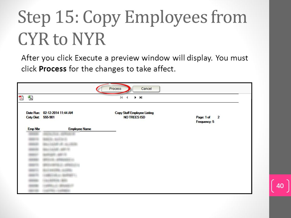 Step 15: Copy Employees from CYR to NYR
