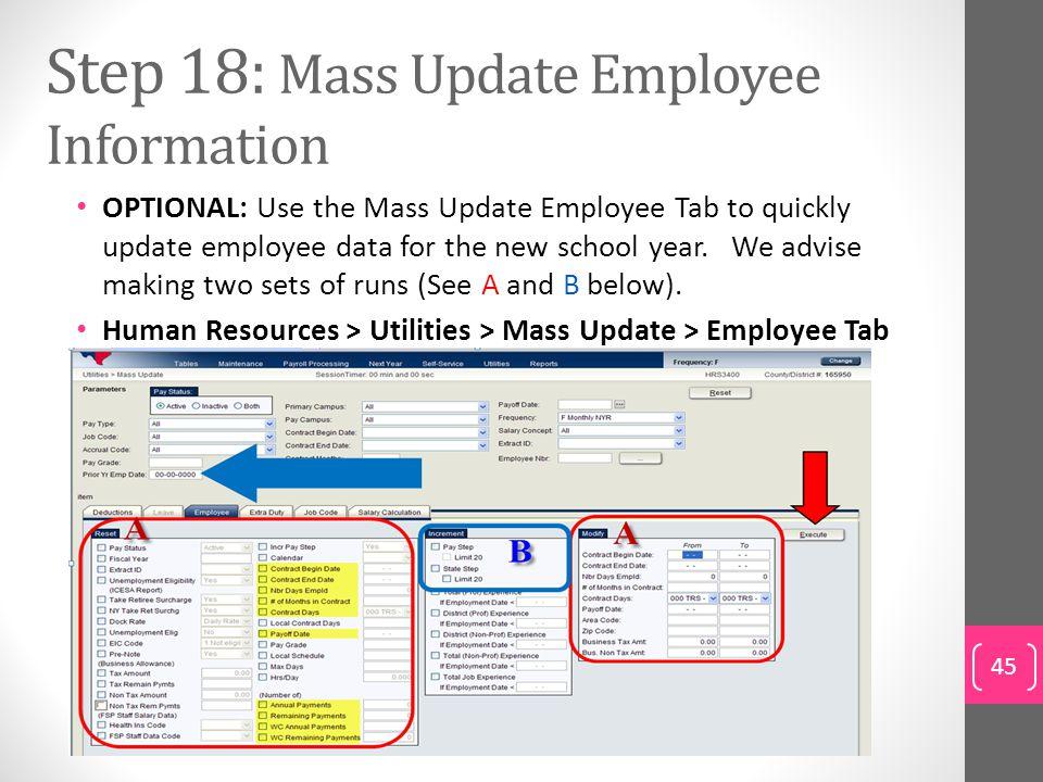 Step 18: Mass Update Employee Information