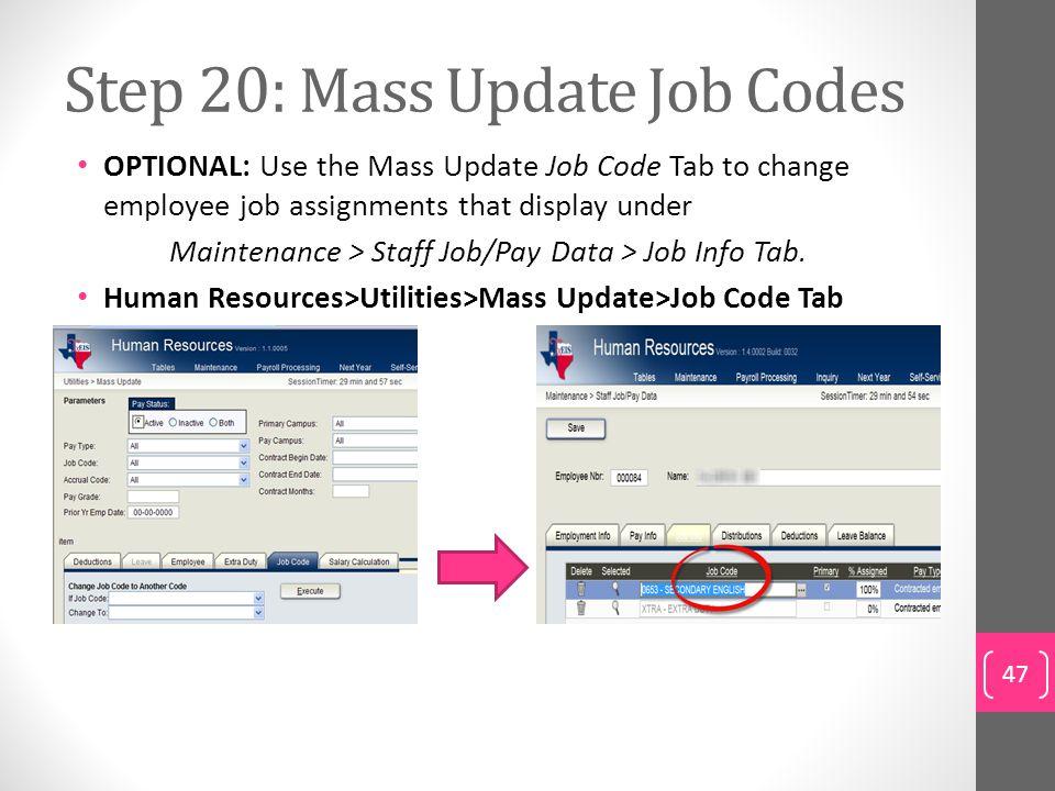 Step 20: Mass Update Job Codes