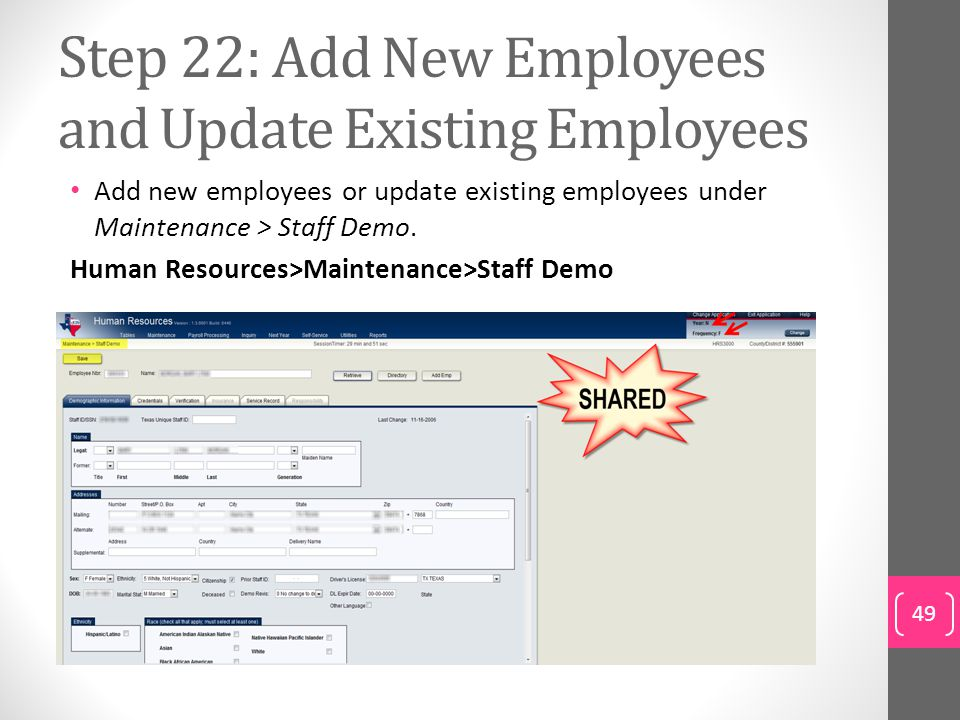 Step 22: Add New Employees and Update Existing Employees