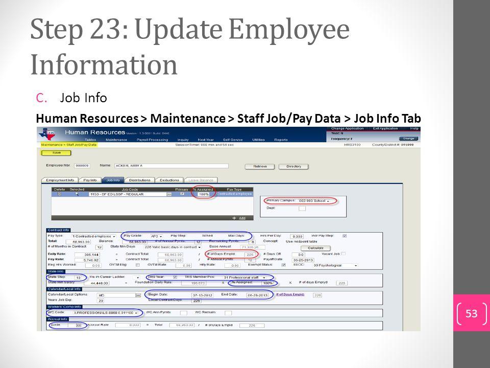 Step 23: Update Employee Information