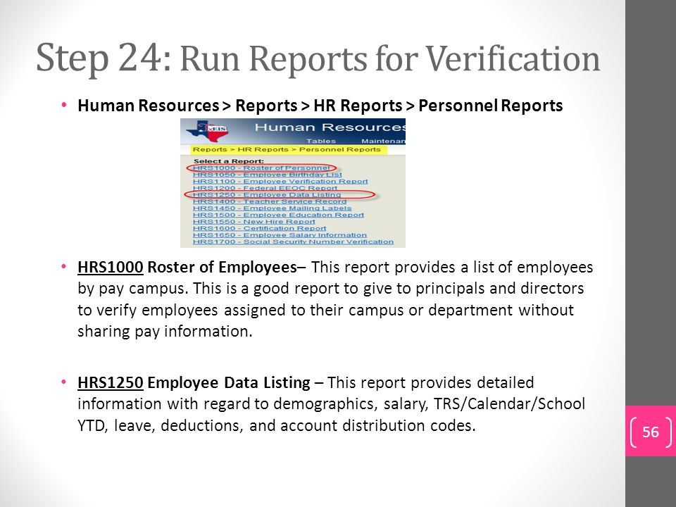 Step 24: Run Reports for Verification