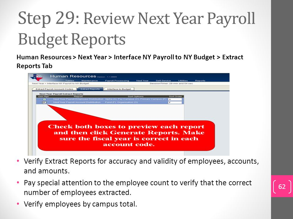 Step 29: Review Next Year Payroll Budget Reports