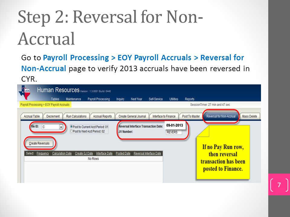Step 2: Reversal for Non-Accrual